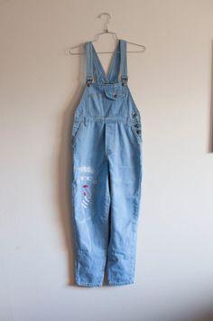 cfc558351fc1 HALF OFF--1980s Med Lrg abstract Jordache blue denim overalls