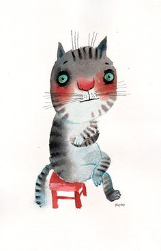 The very introvert cat sitting on a red chair original by ozozo,