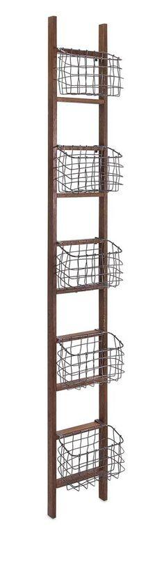 IMAX Carlow Wood Ladder Shelf