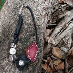 Hand-Stitched Leather Necklace With Hill Tribe Silver Beads,Black,Red,Silver Beads, by Oopsilver on Etsy