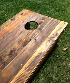 cornhole game by reclaimed repurposed wood