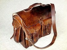 Large Brown Cowhide Leather / Rawhide Messenger Laptop by DiazBags, $180.00