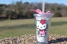 Hello Kitty with flower clear tumbler/ by HannahsLilHobby on Etsy