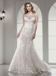 Gorgeous A-line Scoop  Beading Chapel Train Zipper Wedding Dress