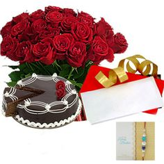 Check out our New Product  Rakhi Love Hamper No Flower COD 20 red roses, 1kg egg less Chocolate cake, greeting card  with one  Rakhi and Roli Chawal.  Rs.2,149