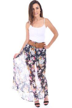 Salt Tree Women's Crinkled Floral Belted Long Dress, US Seller