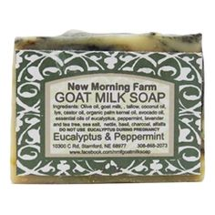 "This unique soap bar of ""Eucalyptus and Peppermint"" is perfect for waking you up or helping with a cold! Buy it now from New Morning Farm Goat Milk Soap on BuyNebraska.com! #grownebraska #buynebraska"