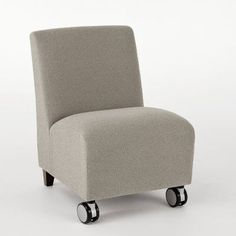 Lesro Siena Guest Chair Arm Options: Not Included, Casters: Included, Finish: Medium, Seat Color: Core Electric
