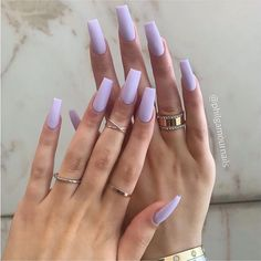 Image in Uñas bonitas collection by - Coffin nails Purple Acrylic Nails, Square Acrylic Nails, Summer Acrylic Nails, Best Acrylic Nails, Summer Nails, Purple Nails With Glitter, Spring Nails, Pastel Blue Nails, Violet Nails