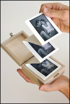 Album in a box. DIY a simple, but beautiful handmade photo album in a wooden box. A great crafty how to for gifts. Diy And Crafts, Arts And Crafts, Paper Crafts, Wooden Crafts, Easy Crafts, Picture Boxes, Picture Gifts, Photo Gifts, Photo Craft