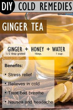 Ginger Tea for get rid of common cold. Ginger tea recipe to get rid of common cold. Benefits of ginger tea and how to make. Natural common cold remedies how to get rid Cold Home Remedies, Cough Remedies, Natural Health Remedies, Herbal Remedies, Home Remedies For Sickness, Homemade Cold Remedies, Ginger Tea For Cold, Tea For Colds, Get Rid Of Cold