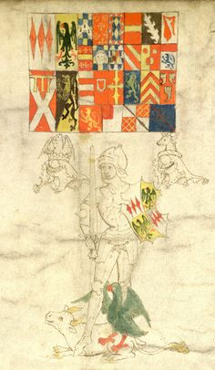 Detail from the Rous Roll -- Richard Neville, Earl of Warwick in Anne's right, the 'Kingmaker', in armour, holding a sword in his right hand and a shield in his left hand, a bull and eagle at his feet, with two helms and crests alongside.