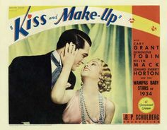 Kiss and Make-Up is a 1934 romantic comedy film starring Cary Grant as a doctor who specializes in making women beautiful. Helen Mack and Genevieve Tobin play his romantic entanglements. The film was based on the play Kozmetika by István Békeffi. All of the WAMPAS Baby Stars of 1934 were cast in roles in the film.[1]  [edit]Cast    Cary Grant as Dr. Maurice Lamar  Helen Mack as Anne  Genevieve Tobin as Eve Caron  Edward Everett Horton as Marcel Caron  Lucien Littlefield as Max Pascal