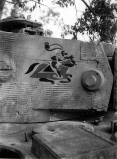 The battalion marking on a Tiger 1 turret showing zimmerit details
