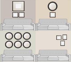 как расположить декор над диваном