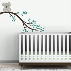 Kids wall decal baby koala bear tree branch wall sticker for nursery wall decor - Koala Branch II. $47.00, via Etsy.