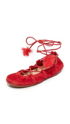 Garnet Red Yosi Samra Seleste Lace Up Flats