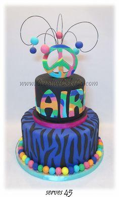 Purple zebra print and rainbow peace sign birthday cake by Creative Cake Co.