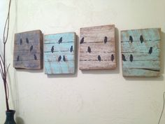 3 Piece Bird Set Custom Birds on a Wire Rustic door ClearSkyDesigns