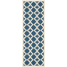 Safavieh Courtyard Navy/Beige 2 ft. 3 in. x 6 ft. 7 in. Indoor/Outdoor Runner-CY6913-268-27 - The Home Depot