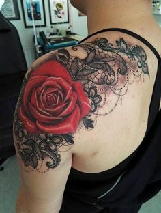 Red Rose Shoulder Floral Flower Tattoo Ideas for Women at MyBodiArt.com