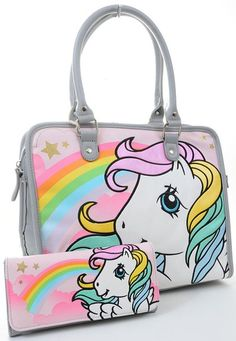 My Little Pony Retro Starshine Print Fashion Tote Bag Purse and Wallet SET Loungefly