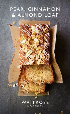 Baking Recipes, Cake Recipes, Dessert Recipes, Pear Loaf Recipes, Waitrose Food, Pear And Almond Cake, Cinnamon Almonds, Cinnamon Loaf, Delicious Desserts
