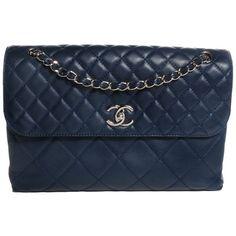 Pre-owned Chanel Business Flap. Shoulder Bag ($2,785) ❤ liked on Polyvore featuring bags, handbags, shoulder bags, dark blue, leather shoulder bag, chanel purses, leather purse, leather handbags and quilted leather handbags