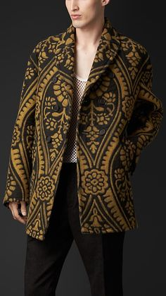 Burberry Prorsum Brocade Needlepunch Jacket This coat is very ornate, but the mesh tee under it, doesn't cut it. Mens Leather Coats, Leather Jacket, Men Coat, Luxury Fashion, Mens Fashion, Fashion Wear, Sports Jacket, Vintage Outfits, Vintage Clothing