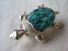 Sea Turtle Brooch Green Gold Rhinestone Vintage Pin Gerry's Tortoise by vintagejewelryalcove on Etsy https://www.etsy.com/listing/271896630/sea-turtle-brooch-green-gold-rhinestone