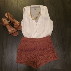 Forever21 High Waisted Lace Short Used, in great condition. Dark Dusty Rose color. XS. Forever 21 Pants
