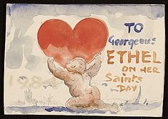 Citation: To gorgeous Ethel on her saints day, between 1935 and 1970 . Xavier Gonzalez papers, Archives of American Art, Smithsonian Institution.