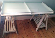 ikea white vika gruvan artur glass display trestle desk table ebay