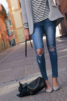 lilac grey shoes and blazer