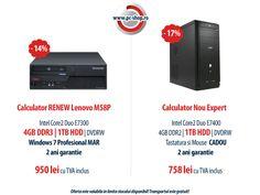 Super oferta de Martisor!  14% reducere > Calculator RENEW Lenovo M58P, HDD 1 TB, memorie 4GB DDR3 si Licenta Windows 7 Pro la numai 950 lei | 17% reducere > Calculator nou Expert (sistem asamblat), HDD 1 TB, memorie 4GB DDR2 la doar 758 lei |  Doamnele si domnisoarele beneficiaza de 10% reducere in plus, fata de pretul afisat pe site, toata luna! Pc Shop, Cool Things To Buy, Stuff To Buy, Second Hand, Hdd, Calculator, Cool Stuff, Phone, Cool Stuff To Buy