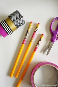 Washi Tape Crafts Pencils and Notebooks- Add your own style to pencils and notebooks to make a matching set with a little Washi tape!