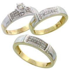 Gold Plated Sterling Silver Diamond Trio Wedding Ring Set His 5mm & Hers 4.5mm, Mens Size 8 to 14 $173.20 (save $329.31)