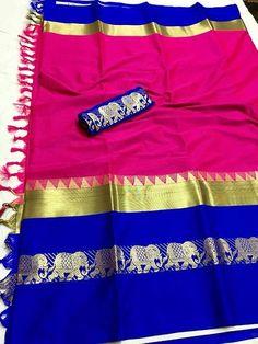 Stylish Multicolored Cotton Silk Saree with Blouse piece Cotton Silk Fabric, Cotton Saree, Ethnic Sarees, Indian Sarees, Fashion Bazaar, Nauvari Saree, Kids Lehenga, Designer Silk Sarees, Blue Saree