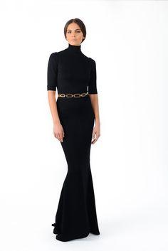 Long turtle neck black dress - Stephane Rolland