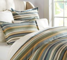 Logan Stripe Duvet Cover & Sham - Blue | Pottery Barn. This is our bedroom colors, want so bad!!!