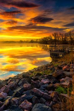Fall Sunrise reflections at Lake Ladora in Denver, Colorado, USA Beautiful Sunset, Beautiful World, Beautiful Images, Amazing Sunsets, Amazing Nature, Landscape Photography, Nature Photography, Nature Scenes, Natural Wonders