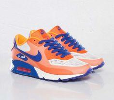 Nike WMNS Air Max 90 Hyperfuse – Bright Citrus / Total Crimson – Hyper Blue