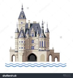 Raster Version / Castle Above The Water On A White Background Стоковые фотографии 307354787 : Shutterstock