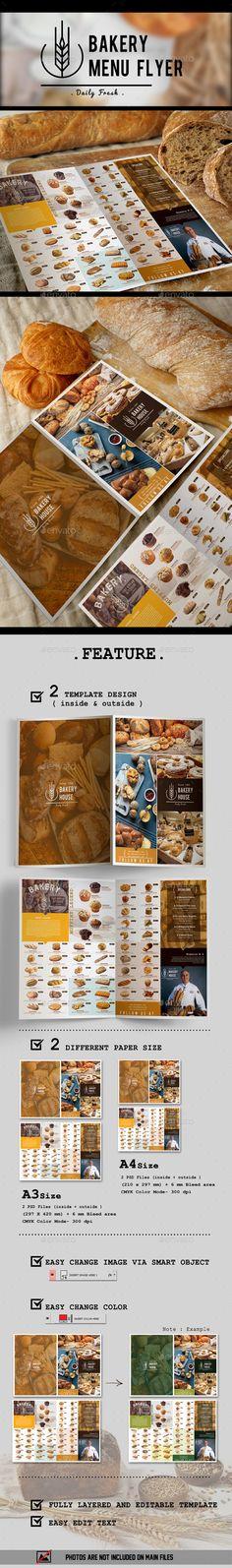 #Bakery Menu Flyer - #Flyers Print Templates Download here: https://graphicriver.net/item/bakery-menu-flyer/16083135?ref=alena994