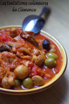Sauté de veau aux deux olives et champignons