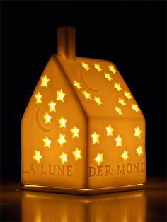 Photophore en biscuit de porcelaine avec étoiles en vente sur www.bienvenuechezvous.biz