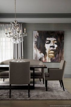 #InteriorInspiration #JimiHendrix Sophisticated dining room//