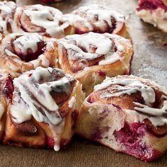 Raspberry-Swirl Sweet Rolls Recipe on Food & Wine - Brunch Brunch Recipes, Wine Recipes, Breakfast Recipes, Cooking Recipes, Bread Recipes, Easy Recipes, Breakfast Desayunos, Breakfast Pastries, Raspberry Breakfast