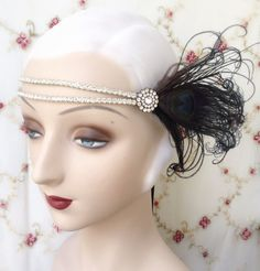 eloise in black - flapper headband of vintage rhinestones, vintage rhinestone button and black peacock feathers - ready to ship