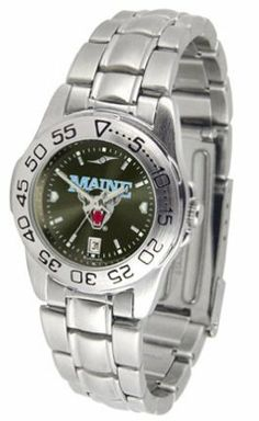 Maine Black Bears Sport AnoChrome Ladies Watch with Steel Band by SunTime. $56.34. Rotation Bezel/Timer. Calendar Date Function. Scratch Resistant Face. This handsome, eye-catching watch comes with a genuine leather strap. A date calendar function plus a rotating bezel/timer circles the scratch-resistant crystal. Sport the bold, colorful, high quality NCAA Maine Black Bears logo with pride.The AnoChrome dial option increases the visual impact of any watch with a stu...